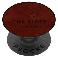 PopSockets PopGrip Vegan Leather phone grip and stand, shown to scale